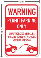 "Permit Parking Only Sign, Large 12x18"" 3M Prismatic Engineer Grade Reflective Aluminum, For Indoor or Outdoor Use - Made in the USA - By SIGO SIGNS"