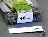 KEYSTAND # 48PWE with 48 Extra Space Numbered Hooks for Car Keys with Remote Control (48 Sets of Tag & Ring Included)