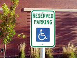"Handicap Parking Sign - With Picture Of Wheelchair Federal 12""x18"" 3M Prismatic Engineer Grade Reflective Handicap Parking Sign Aluminum Green Blue on White"