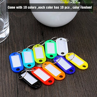 YUEAON 100 pack Tough plastic key tags with label window ID Luggage tag with Split Ring Key Ring keychain,10 colors