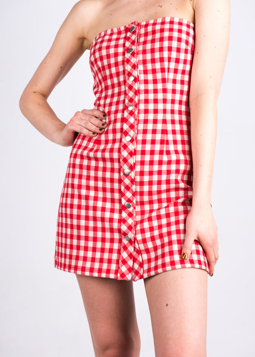 Gingham Strapless Dress