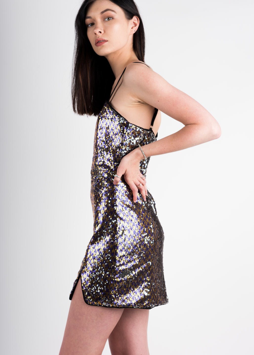 Sequin Slit Dress