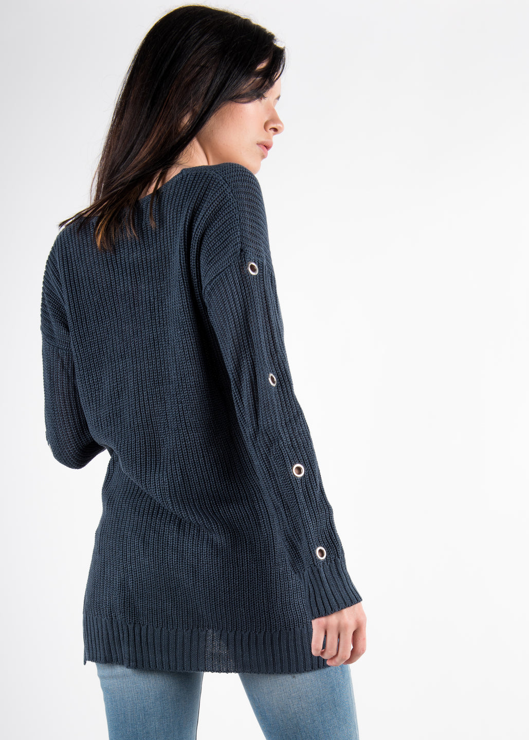 Grommet Sleeve Sweater