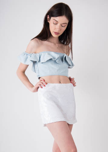 Ruffle Denim Crop