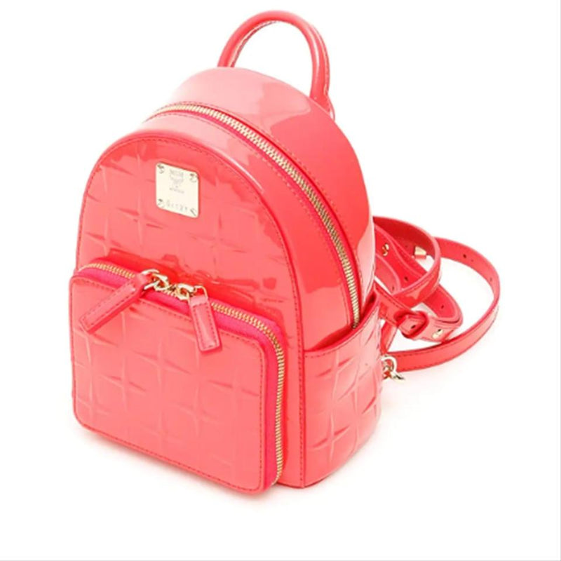 New MCM Fuchsia Pink Diamond Textured Patent Leather Stark Backpack Bag