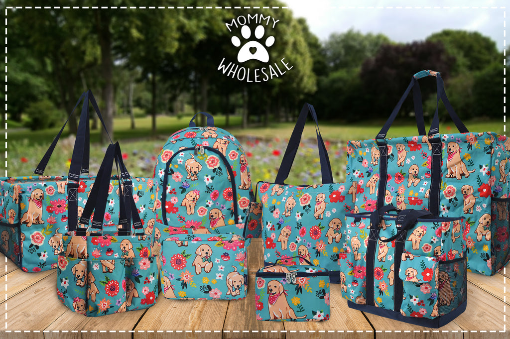 Wholesale Dog and Pet Lovers Cheap Handbags and Totes, Wholesale Bulk Dog Bags, Wholesale Pet Gifts, Cheap Pet Lovers Gift Ideas, Blue Floral Puppy Purse
