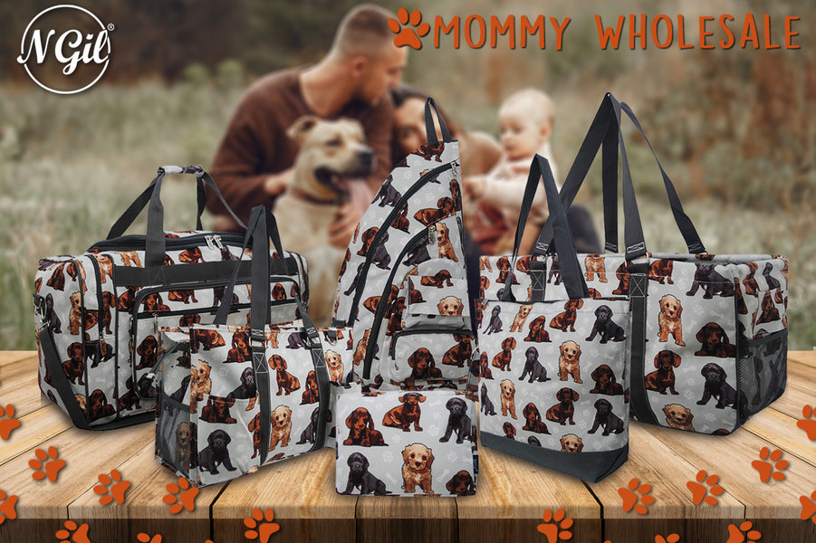 Wholesale Utility Tote and Bags for dog lovers or pet lovers. Perfect monogrammable pet theme tote bags, Puppy and dog print utility tote bags perfect gifts for teachers and nurses