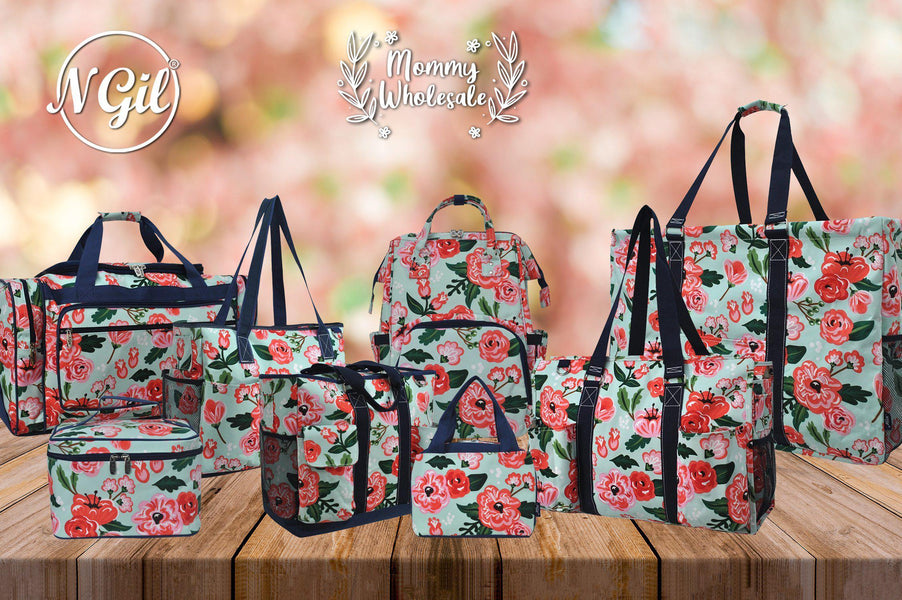 floral print personalized tote, floral print duffle bag, floral print cooler bag, floral print backpack, floral print diaper bag, floral print wallet set, floral print canvas tote set, floral print pencil pouch, floral print cosmetic pouch,