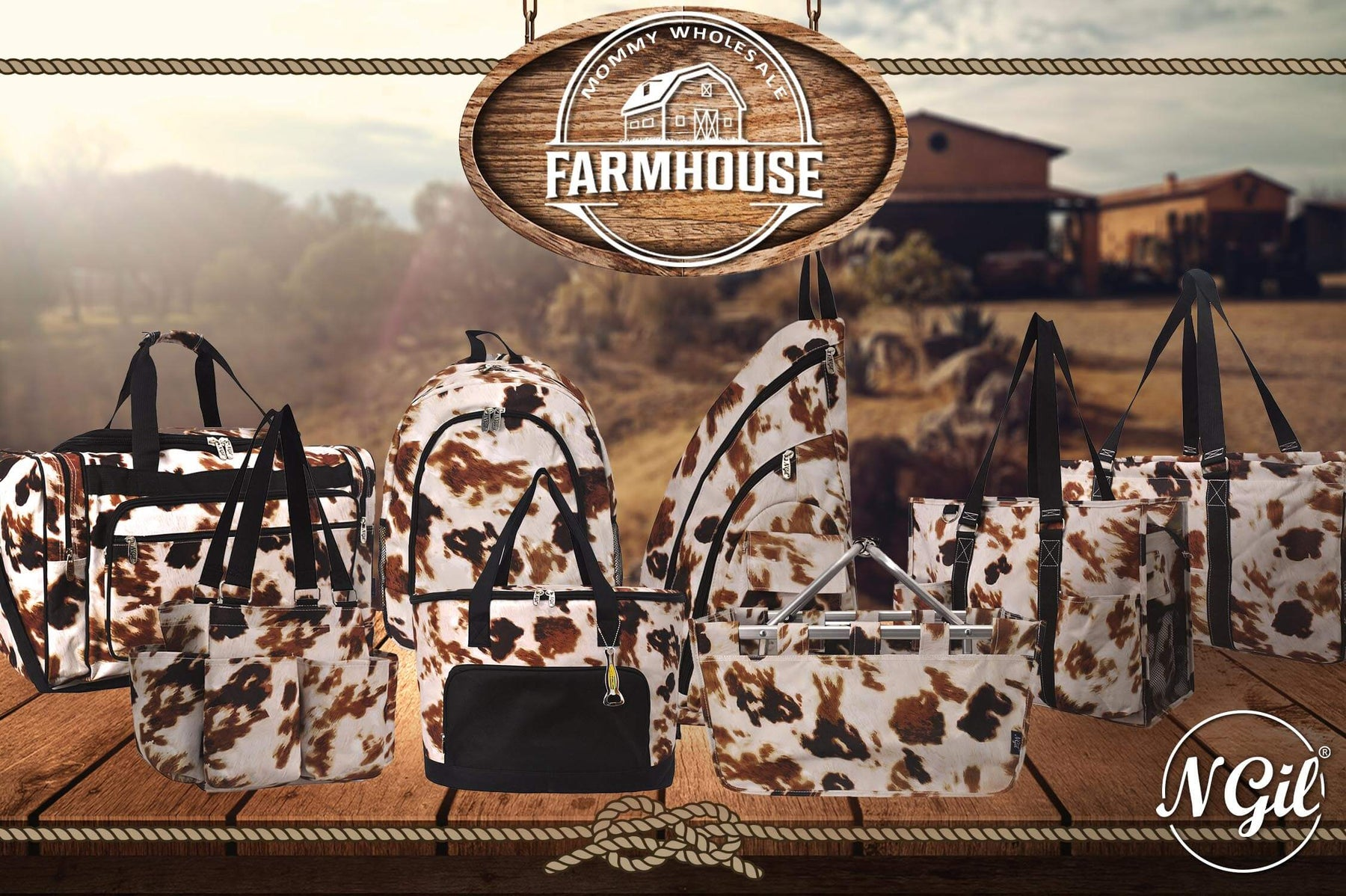 Wholesale Cowgirl Purse, Cheap Cow Print Handbags, Farmhouse Style Gift Bags, Farm Picnic Basket, Cheap Cowboy Themed Gifts, Wholesale Cheap Cow Print Leather Bags for Bulk