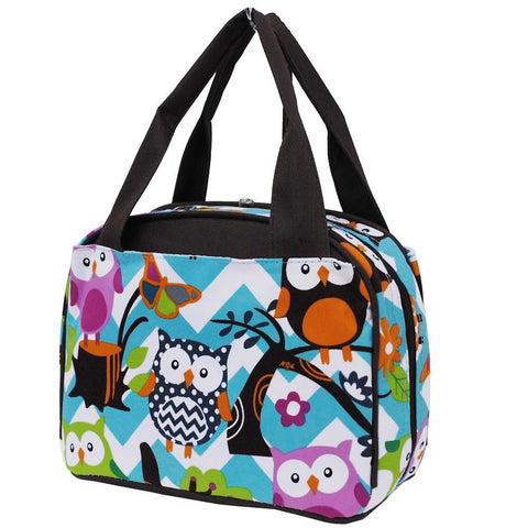 Owl Town Aqua Chevron Brown NGIL Insulated Lunch Bag