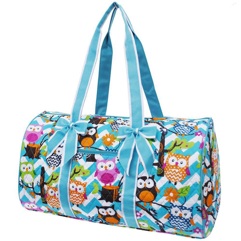 SALE ! Owl Town Aqua Chevron NGIL Quilted Large Duffle Bag