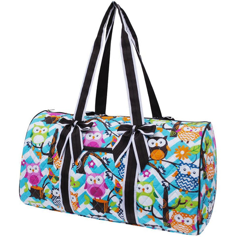 Owl Town Aqua Chevron Brown NGIL Quilted Large Duffle Bag