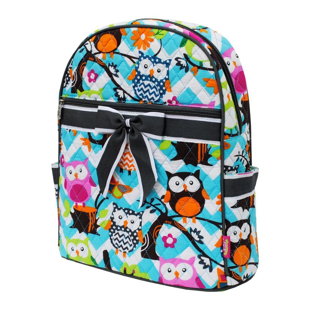 Owl Town Aqua Chevron Gray NGIL Quilted Backpack
