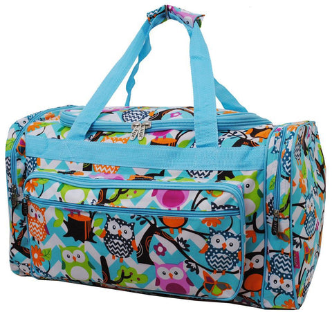 "Owl Town Aqua Chevron NGIL Canvas 23"" Duffle Bag"