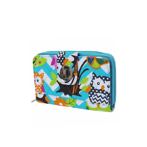 Owl Town Aqua Chevron NGIL Quilted Twist Lock Wallet