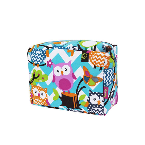 Owl Town Aqua Chevron NGIL Large Cosmetic Travel Pouch