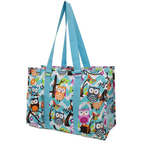 Owl Town Aqua Chevron NGIL Zippered Caddy Large Organizer Tote Bag