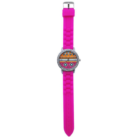 SALE!! Hot Pink Multi Color Aztec Silicone Watch