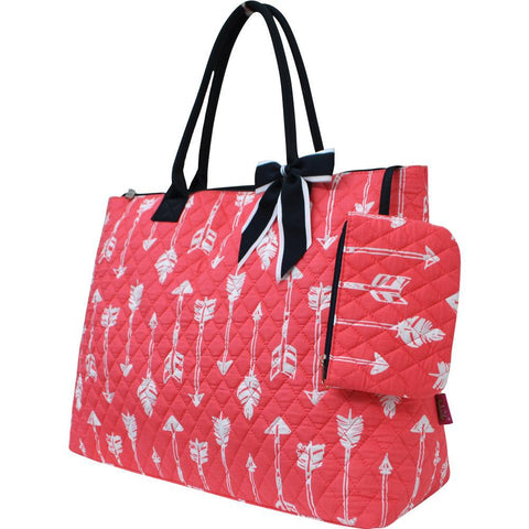 Arrow Coral NGIL Quilted Overnight Tote Bag
