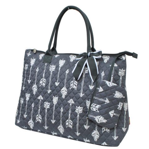 Arrow Gray NGIL Quilted Overnight Tote Bag