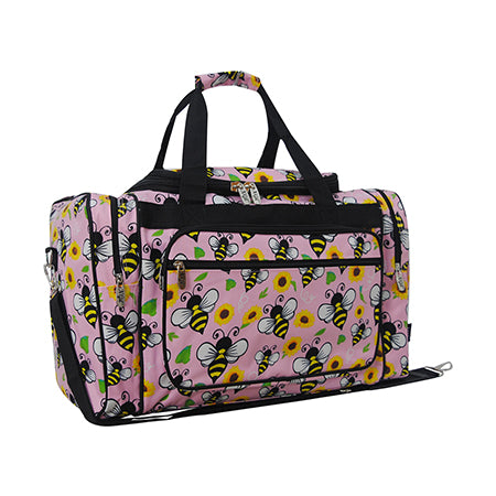 "adorable bee and flower style weekender bag, easy to carry bee weekender bag, canvas material bee and flower wholesale bag, women's wholesale, in bulk children's bee design gym bag, cheap and cute pink and yellow gym bags with  bees and flowers, bees and flowers weekender 20"" inch duffle bag for small road trips"