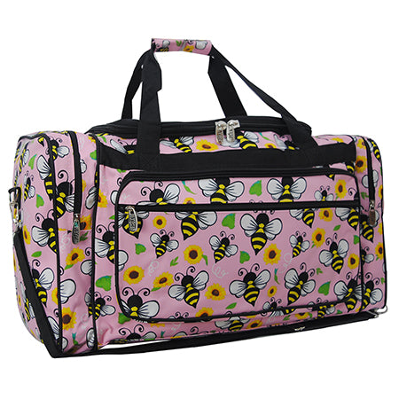 "bee and flower sports bag, gifts for teammates, cute and cheap in bulk gym bags for sports coaches, cute in bulk duffle bags with farm animals  for dance classes, kids 23"" inch blush rose color design duffle bag for school, 23"" inch duffle bag for kids carry on suitcase, 23"" inch kids cute bees and flowers duffle bag for weekend trips"