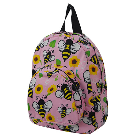black and pink mini backpacks for children, mini backpacks for small school trips, bee and sunflower mini backpacks gifts for teachers, in bulk black and pink mini backpacks, cheap and cute mini backpacks for summer school, cute bee and flower pink theme mini backpack for field trips