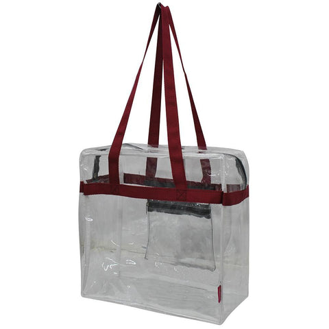 Burgundy and Gray NGIL Clear Stadium Tote Bag