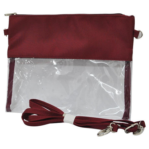 Burgundy NGIL Clear Stadium Crossbody Bag/Clutch Bags