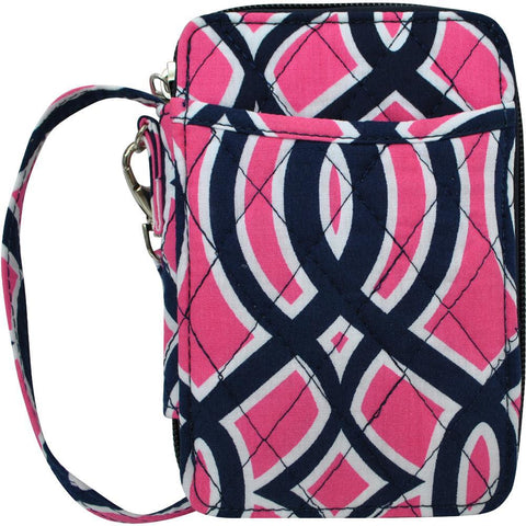 Navy and Pink Vine Pattern NGIL Quilted Wristlet Wallet