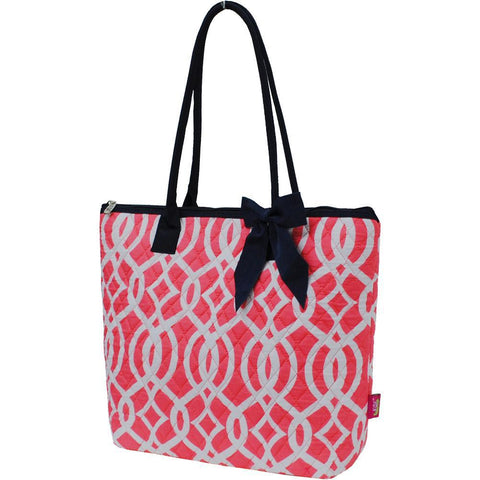 Vine Pattern Coral NGIL Quilted Tote Bag