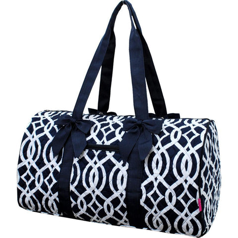 Vine Pattern Navy NGIL Quilted Large Duffle Bag