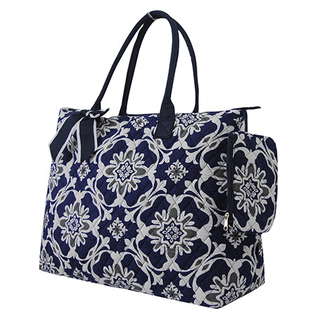 Quatro Vine Pattern NGIL Quilted Overnight Tote Bag