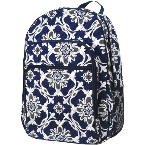 Quatro Vine Pattern Quilted Large School Backpack