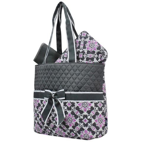 Purple Quatro Vine NGIL Quilted 3pcs Diaper Bag