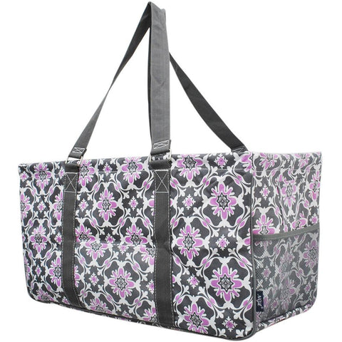 Monogram gift basket, NGIL, monogram tote bag canvas, personalized basket, teacher gift for classroom, purple quatro vine utility tote bag, purple tote bags, vine tote bag,