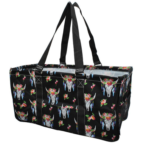 bull skull bag, bull bag, bull with flowers, NGIL, Monogram gifts for her, monogram tote for teachers, personalized tote, teacher gifts,