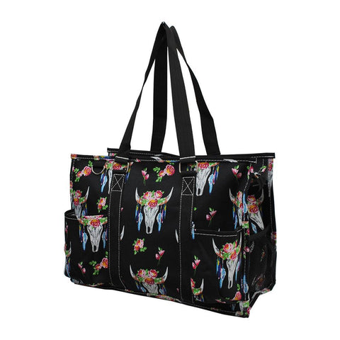 NGIL Brand, Personalized Travel Bag, monogram gift ideas, personalized accessories for mom, nurse tote organizer wholesale, gifts for mom, bull skull tote, bull tote bag, bull skull with flowers.