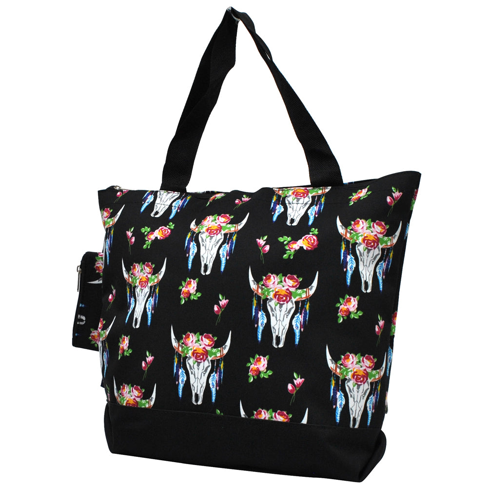 Monogrammed Zippered Tote Bag, monogram gifts for her, Monogram bags and tote, Gifts for her, monogram gifts, NGIL Brand, custom tote bags with zipper, wholesale tote bags with zipper, black tote bag, black bull skull tote bag, cute flower tote, flower tote bag, nice tote bags for school.