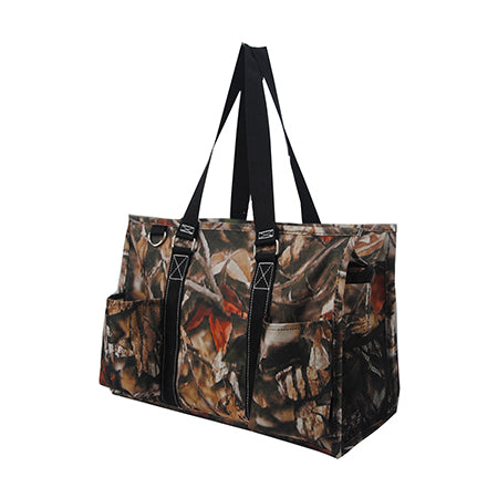Black Camouflage NGIL Zippered Caddy Organizer Tote Bag