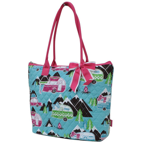 Happy Camper Hot Pink NGIL Quilted Tote Bag