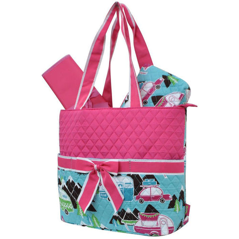 HOT! SALE!! Happy Camper Hot Pink NGIL Quilted 3pcs Diaper Bag