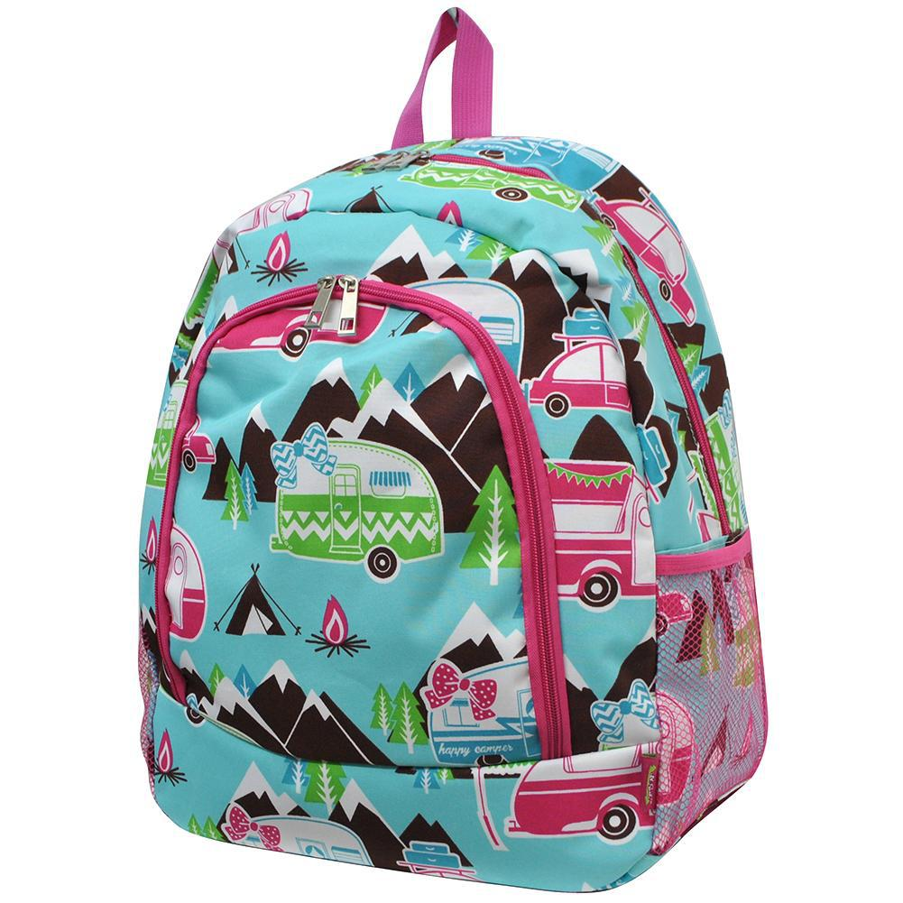 Happy Camper Hot Pink NGIL Canvas School Backpack