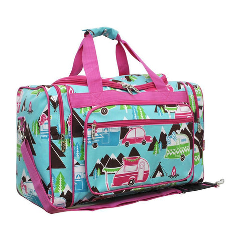 "Happy Camper Hot Pink NGIL Canvas 20"" Duffle Bag"