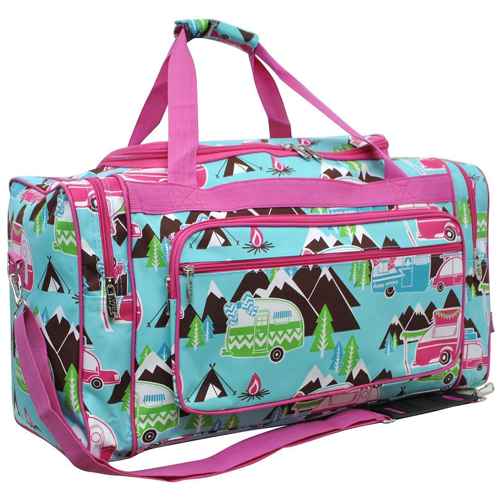 Camping duffle, duffel bag, monogram duffel bag large, personalized duffel bag with logo, CAMP DUFFLE BAG IDEAS, trip bags, weekender bag, weekend bag, travel duffel bag women, hot pink duffel, blue duffel bag, happy camper print.