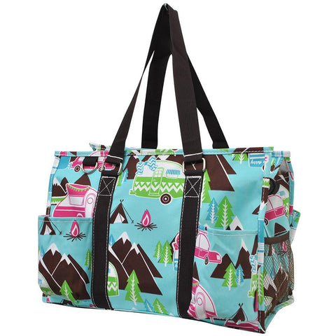 Utility Tote, Personalized Travel Bag, personalized tote bags cheap, personalized bags for women, personalized gifts for camping, camp tote bags for work, camp gift ideas, nurse appreciation gift ideas, vibrant colors, vibrant bags, bag with mountains.