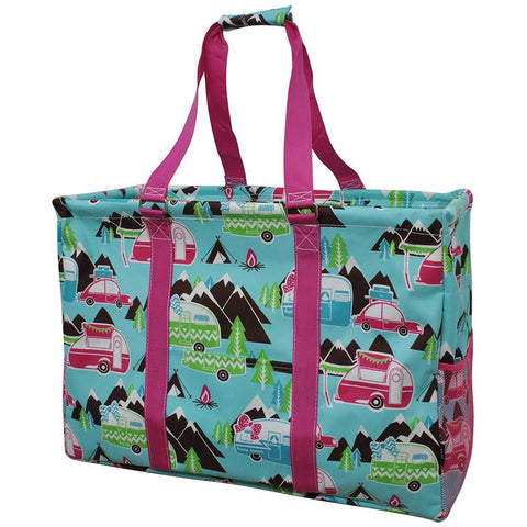 Happy Camper Hot Pink NGIL Mega Shopping Utility Tote Bag