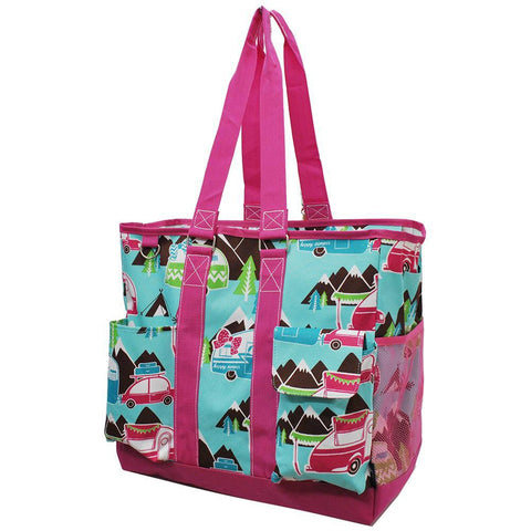 Tote bags wholesale, canvas tote bags wholesale, monogramable tote bag, monogram tote bags cheap, monogram bags totes, personalized tote bags cheap, personalized tote bag with pockets, nurse tote bag with zipper, student nurse bag, teacher tote with pockets, pink tote bag, happy camper theme.