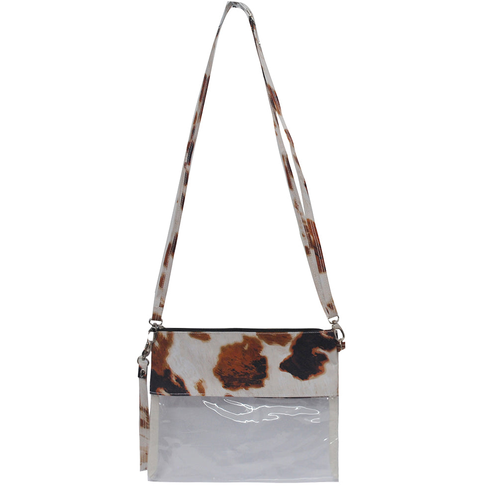 Cute clear cow print small crossbody bag, mini crossbody bag for the amusement parks, simple and cute women's handbags, western theme crossbody bag, cute clear wholesale crossbody bags for game stadiums