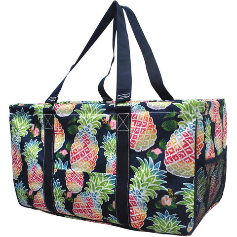 NGIL, Monogram gifts for her, monogram tote for teachers, personalized tote, teacher gifts, tropical pineapple utility tote, tropical utility tote bags, pineapple totes,